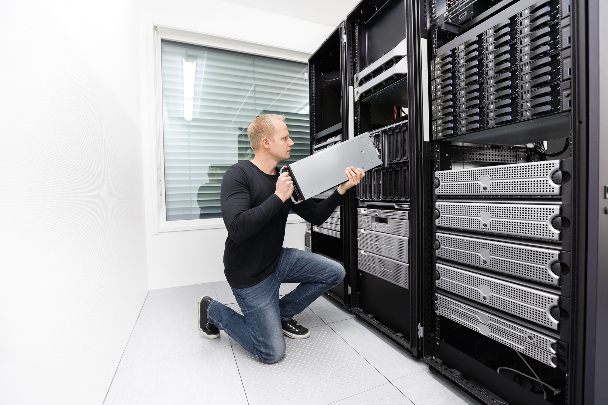 A person works with server