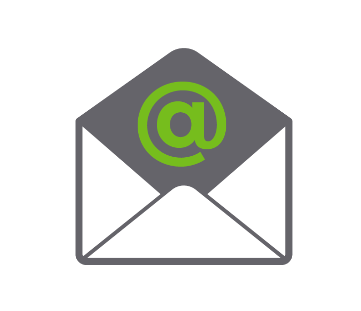 email setup logo depicted as an envelope and @ sign